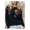 Round Neck Tiger Head Embroidered Long Sleeve Sweater
