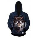 Hot Fashion Digital Wolf Head Pattern Long Sleeve Zip Up Hoodie