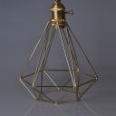 Industrial Hanging Pendant Light in Gold/Sliver with Vintage Style Metal Frame