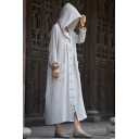 New Arrival Retro Linen Plain Long Sleeve Hooded Buttons Down Cape Coat