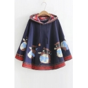 Tribal Printed Cartoon Cat Pattern Hem Hooded Long Sleeve Cape Coat