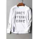 New Trendy Cartoon Cat Letter Pattern Round Neck Long Sleeve Pullover Cotton Sweatshirt