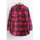 Classic Plaids Printed Lapel Collar Long Sleeve Dipped Hem Buttons Down Shirt with Pockets