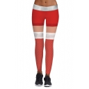 Casual Leisure Fashion Christmas Color Block Elastic Waist Yoga Leggings
