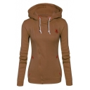 New Trendy Casual Leisure Plain Long Sleeve Zip Up Side Hoodie
