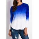 New Trendy Fashion Color Block Round Neck Long Sleeve Chic Mohair Sweater
