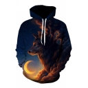 New Collection 3D Moon Wolf Pattern Loose Long Sleeve Hoodie with Pockets