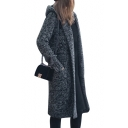 Basic Simple Plain Heather Gray Hooded Long Sleeve Open Front Long Coat