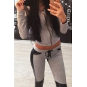 Casual Leisure Sports Color Block Fur Hooded Zip Up Cropped Coat with Skinny Pants