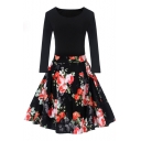 Retro Floral Pattern Round Neck Long Sleeve Midi Fit Flare Dress