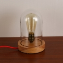 Industrial Desk Lamp with 6.1''W Wooden Base