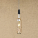 Industrial Hanging Pendant Light LOFT Pipe Fixture Socket with Creative Wine Bottle Shade