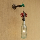 Industrial Retro Wall Sconce G4 LED with Clear Glass Shade, Pipe Style Valve and Tap Decoration