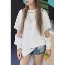 New Arrival Fashion Hollow Out Long Sleeve Round Neck Plain Loose T-Shirt