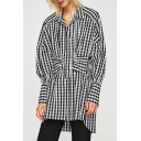 Classic Plaids Printed Lapel Collar Long Sleeve Tunic Leisure Blouse