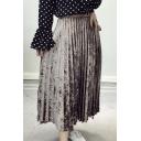 New Fashion Tied Up Side Simple Plain Maxi Velvet Pleated Skirt