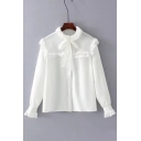 Fashion Stringy Selvedge Long Sleeve Round Neck Simple Plain Buttons Down Chiffon Shirt