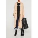 Notched Lapel Collar Long Sleeve Simple Plain Double Breasted Trench Coat