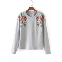 Symmetrical Floral Embroidery Round Neck Long Sleeve Pullover Sweatshirt