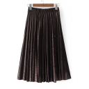 High Rise Elastic Waist Basic Plain Midi A-Line Pleated Skirt