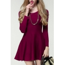 Simple Plain Long Sleeve Round Neck Mini A-Line Knit Dress