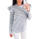 Basic Simple Color Block Striped Print Long Sleeve Round Neck Tee