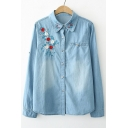 Chic Floral Embroidered Long Sleeve Lapel Collar Buttons Down Denim Shirt