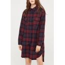 Classic Plaids Printed Long Sleeve Buttons Down Tunic Shirt with Double Pockets