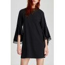 Stand-Up Collar Lace Panel Trumpet Sleeve Plain Mini Dress