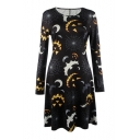 New Arrival Fashion Halloween Cartoon Bat Pattern Long Sleeve Mini A-Line Dress