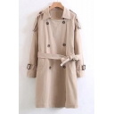 Lapel Double-Breasted Belt Waist Plain Long Sleeve Trench Coat