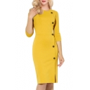 Office Lady Simple Plain Round Neck 3/4 Sleeve Buttons Down Side Midi Pencil Dress