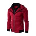 Color Block 2 in 1 Hooded Double-Zip Up Long Sleeve Coat