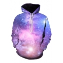 Hot Popular Chic Purple Galaxy Pattern Long Sleeve Casual Loose Hoodie
