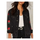 Lapel Button Down Rose Embroidered Long Sleeve Denim Jacket