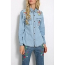 New Arrival Fashion Floral Embroidered Lapel Collar Long Sleeve Buttons Down Denim Shirt