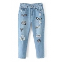 Fashion Embroidered Patched Chic Ripped Out Casual Leisure Jeans