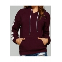 Basic Simple Letter Pattern Long Sleeve Comfort Casual Hoodie with Pockets