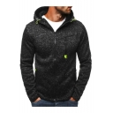 Casual Sports Leisure Simple Plain Long Sleeve Zip Up Slim Hoodie
