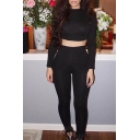 Sexy Slim Round Neck Long Sleeve Plain Cropped Top with Skinny Pants