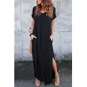 Casual Short Sleeve Round Neck Split Sides Plain Maxi Dress with Pockets