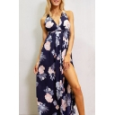 Summer's Chic Floral Pattern Sexy Plunge Neck Split Front Maxi Beach Dress