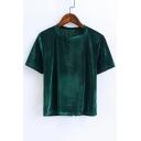 Simple Plain Fashion Velvet Round Neck Short Sleeve Slim T-Shirt