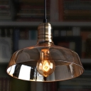 Industrial Vintage Hanging Pendant Light Barn Style with Amber Glass Shade