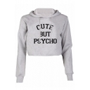 Hot Popular Fashion Letter Pattern Long Sleeve Sports Casual Cropped Hoodie