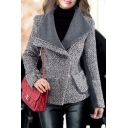 Winter's New Collection Lapel Collar Long Sleeve Color Block Wool Coat