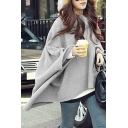 Loose Oversize Fur Hooded Chic Asymmetrical Hem Plain Cape Coat