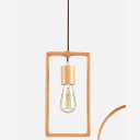 Industrial Vintage Hanging Pendant Light Open Bulb Style with Rectangle Metal Frame