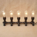 Industrial Table Lamp with Fabulous Pipe Fixture Body in Open Bulb Design, Aged Bronze