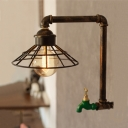 Industrial Wall Light with LOFT Metal Cage Frame, Tap Decorative Pipe Fixture